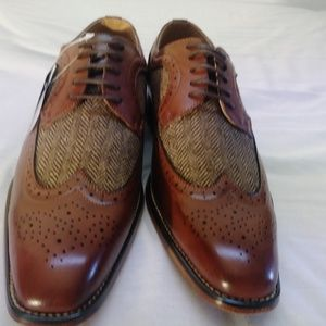Gino vitale  long wing brogue herringbone shoe 10